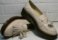 Модные лоферы женские без каблука Markos S-6 Light Beige.