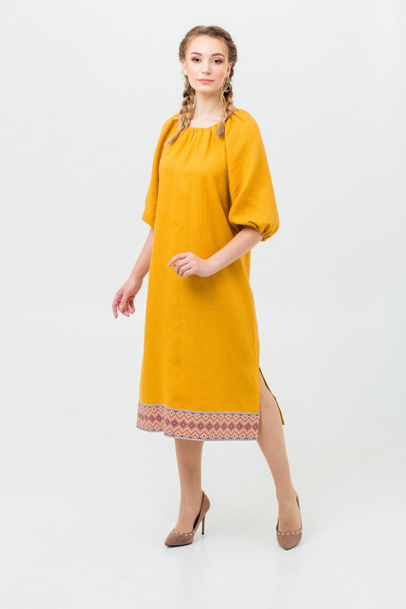 Платье Медовая горчица в русском стиле