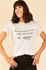 Qadın üçün ağ, yazılı t-shirt 10701052