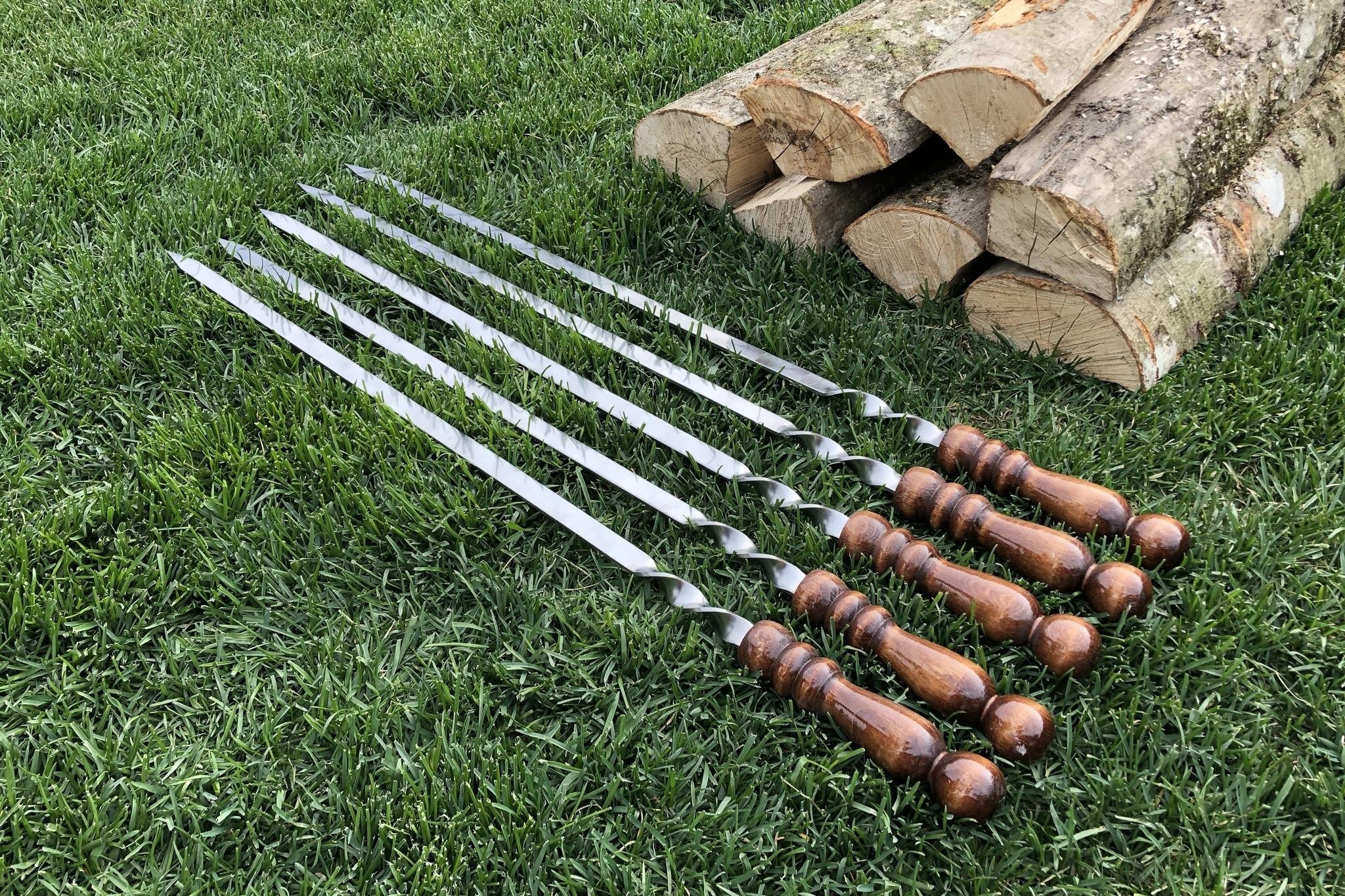 """Шампуры из нержавейки Шампур с деревянной ручкой """"Шар"""" 3мм (ширина 12мм) №4 IMG_3750.JPG"""
