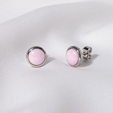 Серьги-пусет Керамика розовый (сталь)