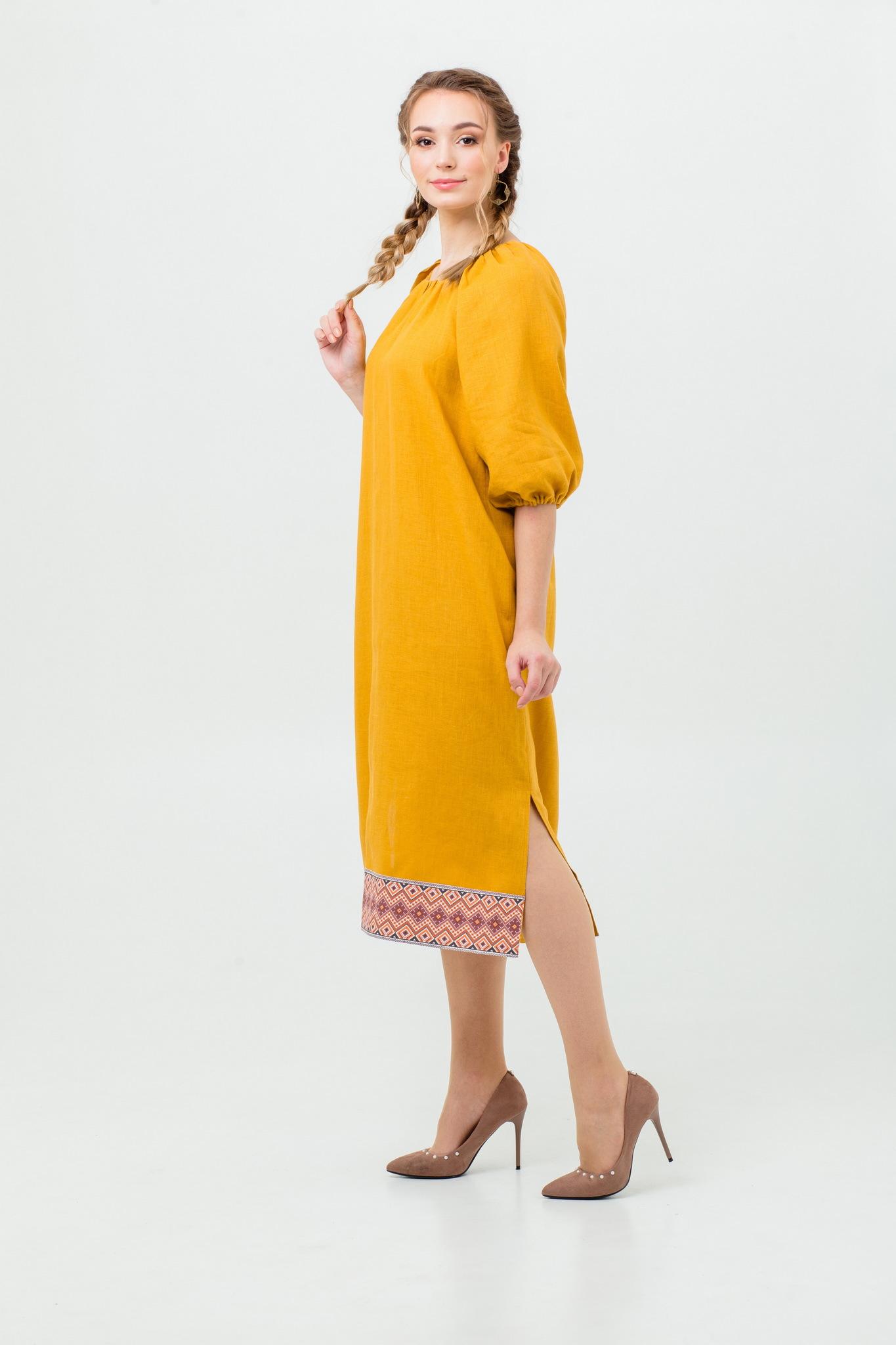Платье Медовая горчица льняное