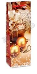 Пакет подарочный с глянцевой ламинацией 12x36x8.5 см (Bottle) Новогодний подарок.