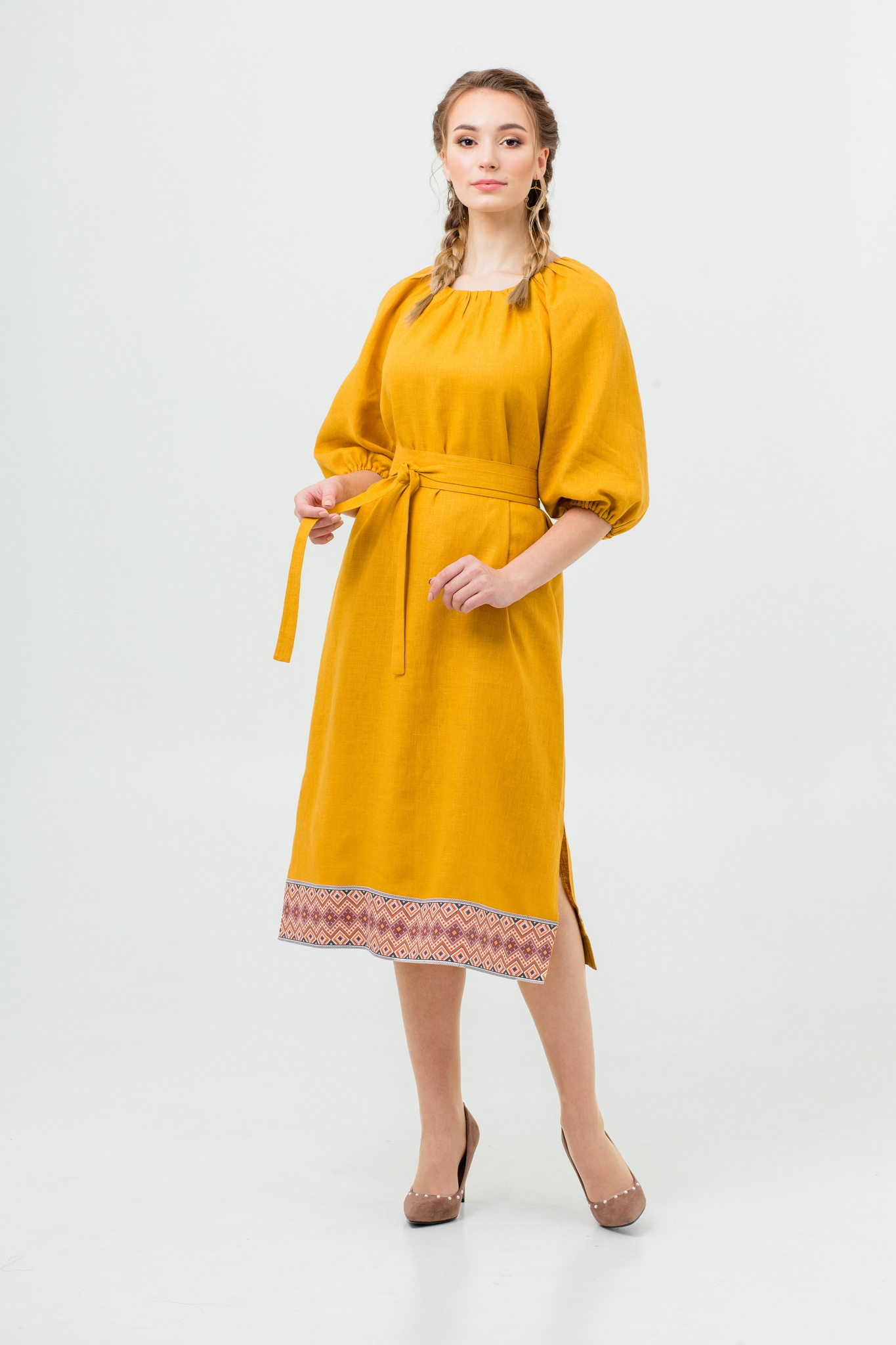 Платье Медовая горчица из льна