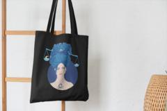 Сумка-шоппер с принтом Знаки Зодиака, Весы (Гороскоп, horoscope) черная 006