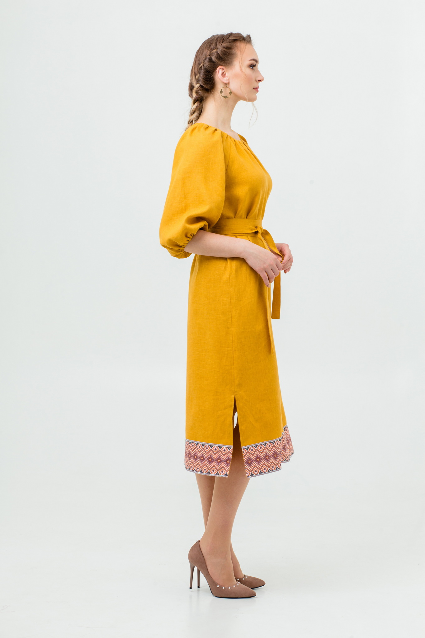 Платье Медовая горчица с поясом