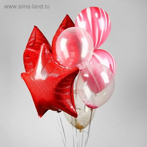 Букет из шаров «Звезда», набор 9 шт. + грузик, цвет красный