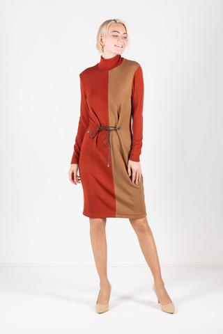 Фото платье-водолазка состоящее из двух цветов приталенное завязками - Платье З311-448 (1)