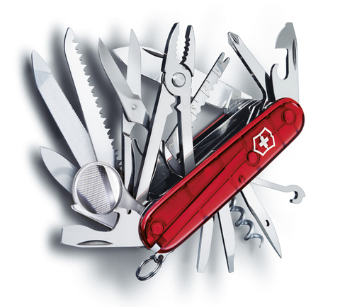 Нож Victorinox SwissChamp, 91 мм, 33 функции, полупрозрачный красный123