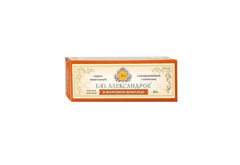 Сырок глазированный Б.Ю.Александров в молочном шоколаде с ванилью 26%, 50 г