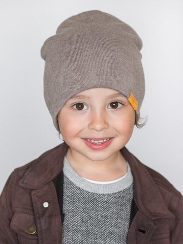 детская шапка из турецкой шерсти серо-коричневая