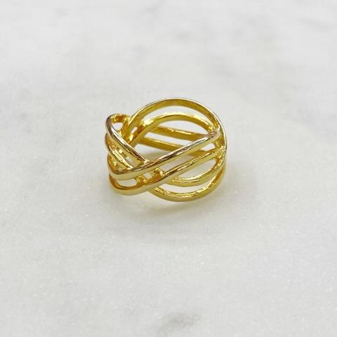 Кольцо Тройная Бесконечность (золотистый) vi