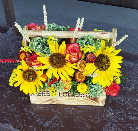 Ящик с цветами Подсолнух