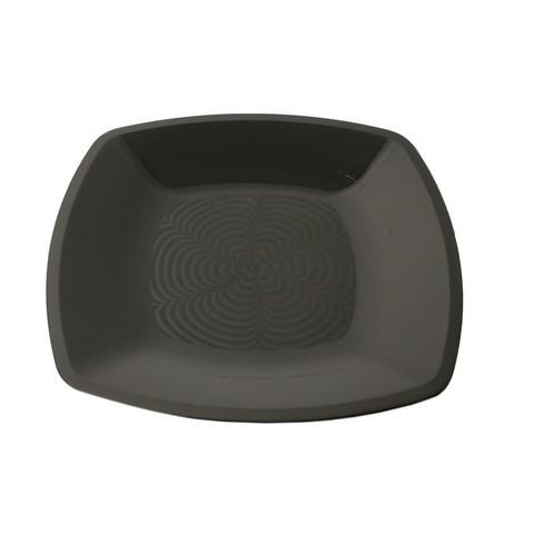 Тарелка одноразовая плоская АВМ-Пластик пластиковая черная 18x18 см 12 штук в упаковке