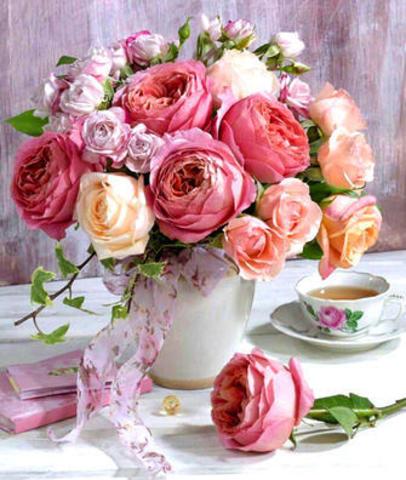 Алмазная Мозаика 50x65 Букет роз и чашка чая