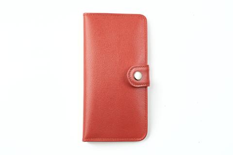 Клатч на кнопке мини с обработанными краями, рыжий