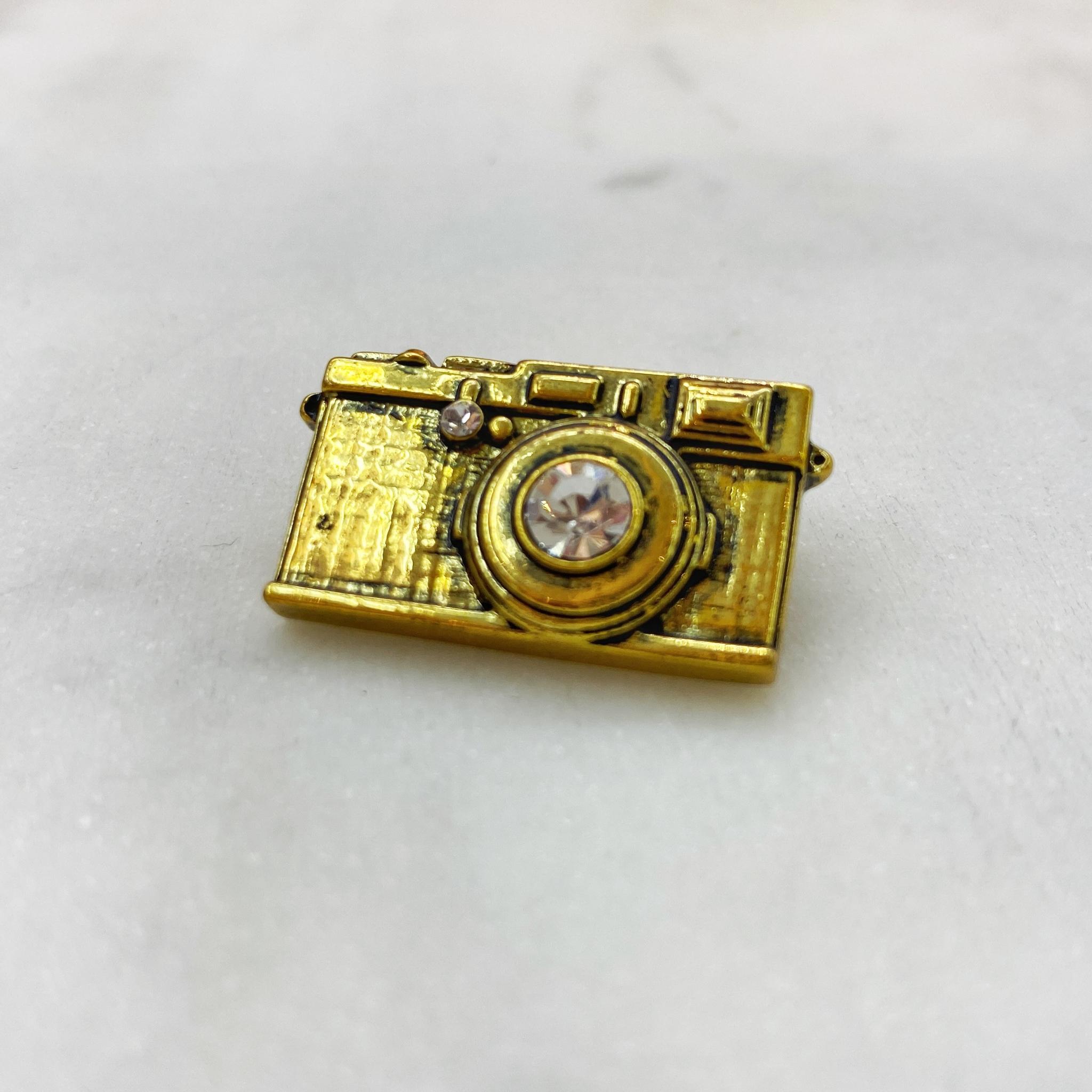 Брошь Фотоаппарат золотой