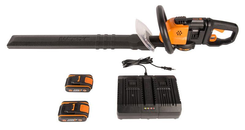 Кусторез аккумуляторный WORX WG284E, 40В, 60 см, 2*2,0 Ач, двойное ЗУ 2x2A