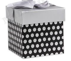 Коробка складная Горох. Серебро 10 х 10 х 10 см. с лентой, 1 шт.