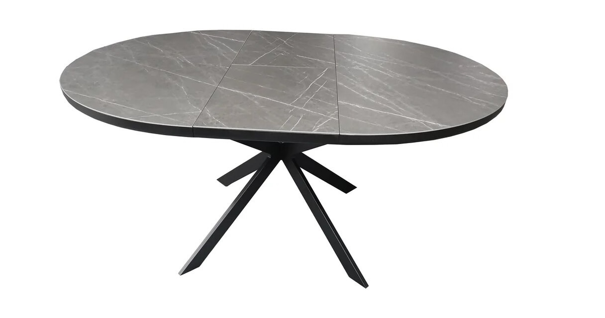 Стол обеденный Astra (1200-1600x120x760) Matt Black/Dark Gray (Черный Матовый/Темно-Серая Керамика)