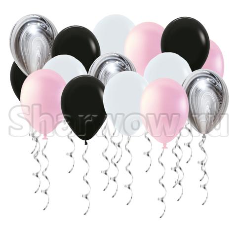 Воздушные шары под потолок Розовый, черный и белый