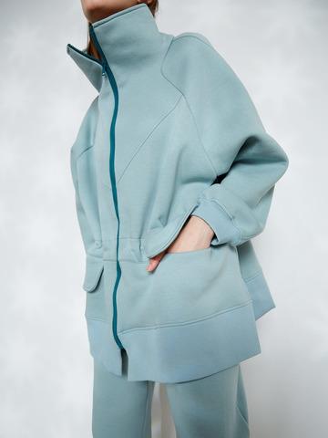 Куртка с кулисой из футера мятный