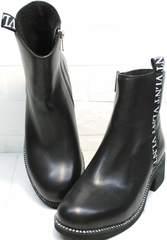 Стильные полусапожки женские Jina 6845 Leather Black.