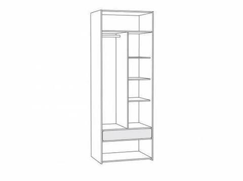 Шкаф для одежды Элен 200 Моби ясень шимо светлый/белый глянец