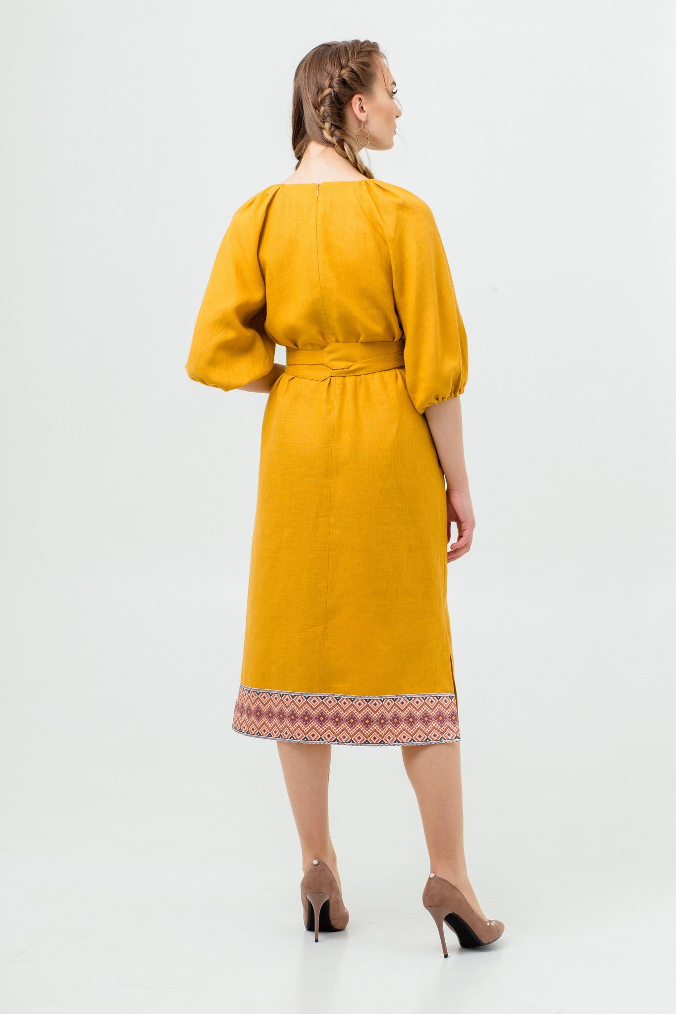 Платье Медовая горчица из льна и хлопка