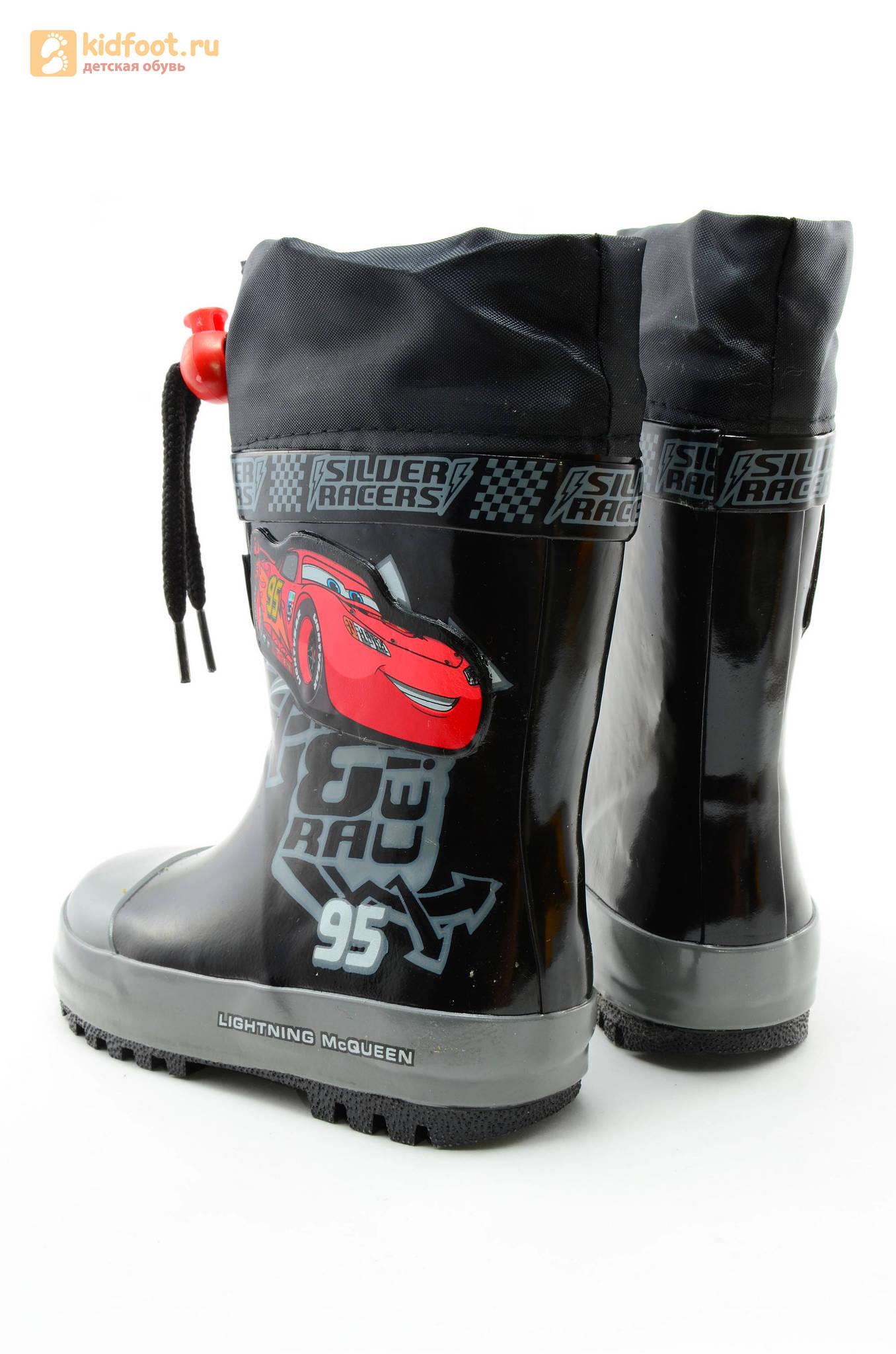 Резиновые сапоги Тачки (Cars) на шнурках для мальчиков, цвет черный
