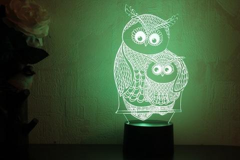 3D лампа Сова с совенком