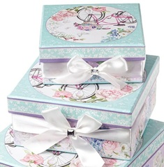 Набор коробок квадратных Романтик 4шт, 23х23х12см, розовый/голубой