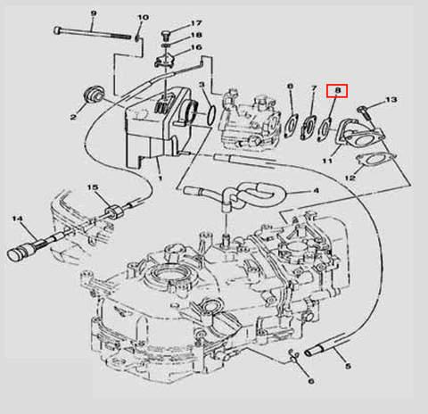 Прокладка карбюратора  для лодочного мотора F5 Sea-PRO(6-8)