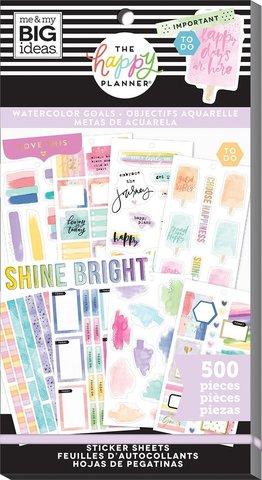 Блокнот со стикерами для ежедневника -Happy Planner Sticker Value Pack- Watercolor Goals, 500 шт