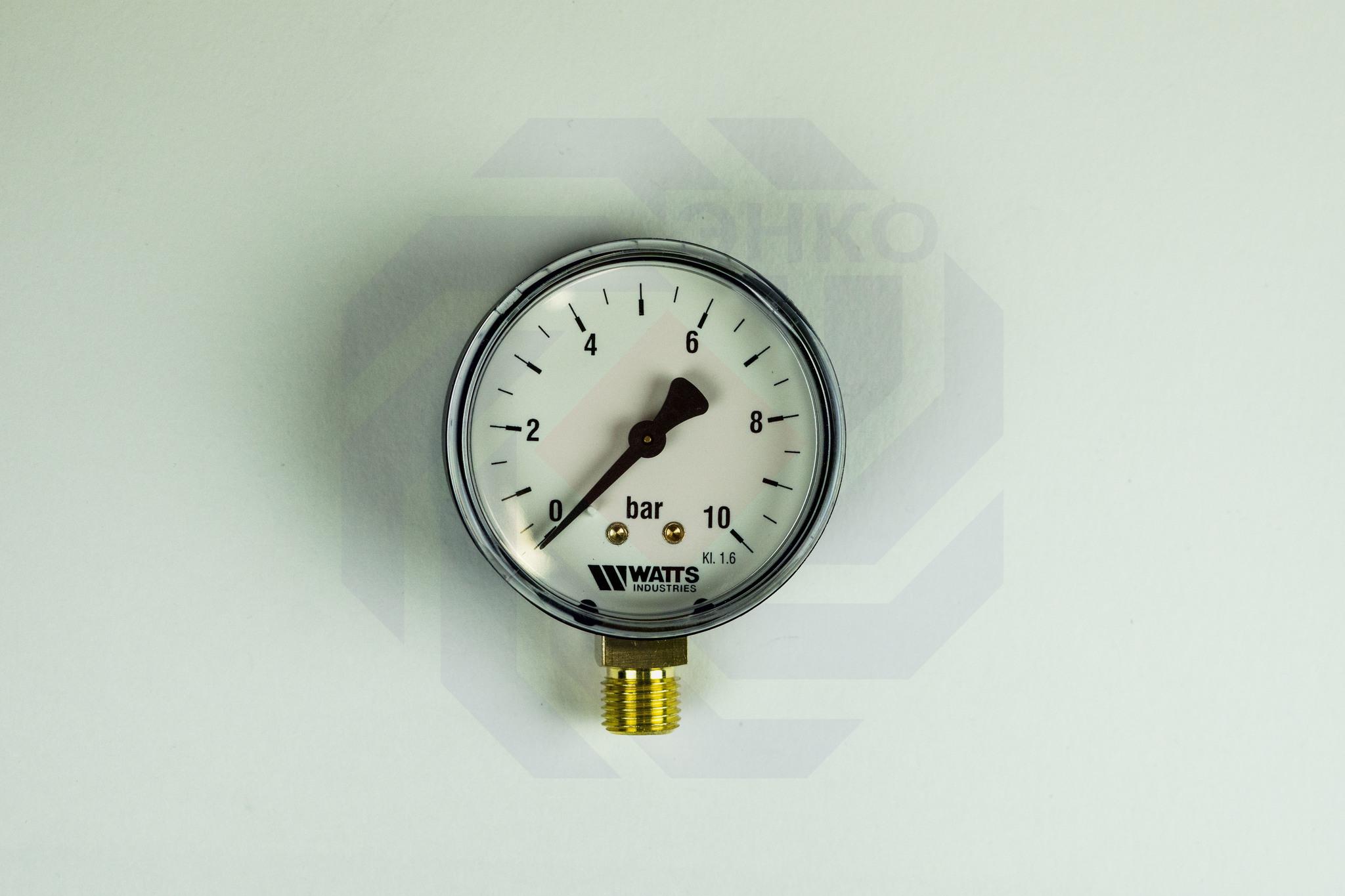Манометр радиальный WATTS MDR 63/10 (F+R200) 0-10 бар 63 мм ¼