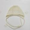 Шапочка с кружевом на завязочках из шерсти мериноса