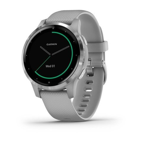 Garmin Vivoactive 4s - Silver Stainless Steel Bezel with Powder Gray Case and Silicone Band