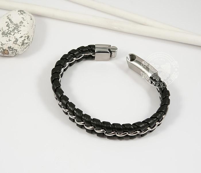 BM380-1 Мужской браслет из стали и кожи на магнитной застежке (20 см) фото 02