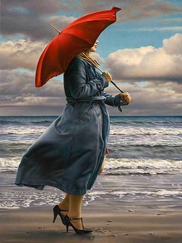 Картина раскраска по номерам 30x40 Девушка под красным зонтом на берегу