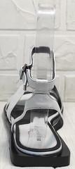 Кожаные шлепки босоножки квадратный каблук Brocoli H1886-9165-S873 White.