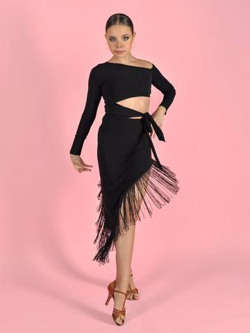 Платье Латина с завязкой и бахромой