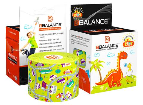 Тейпы для детей BBTape KIDS 5см*5м машинки лайм, Bbalance Корея