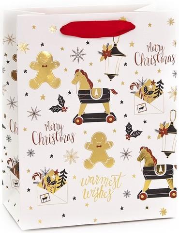 Пакет подарочный, Новогодние игрушки, Белый, Металлик, 32*26*12 см