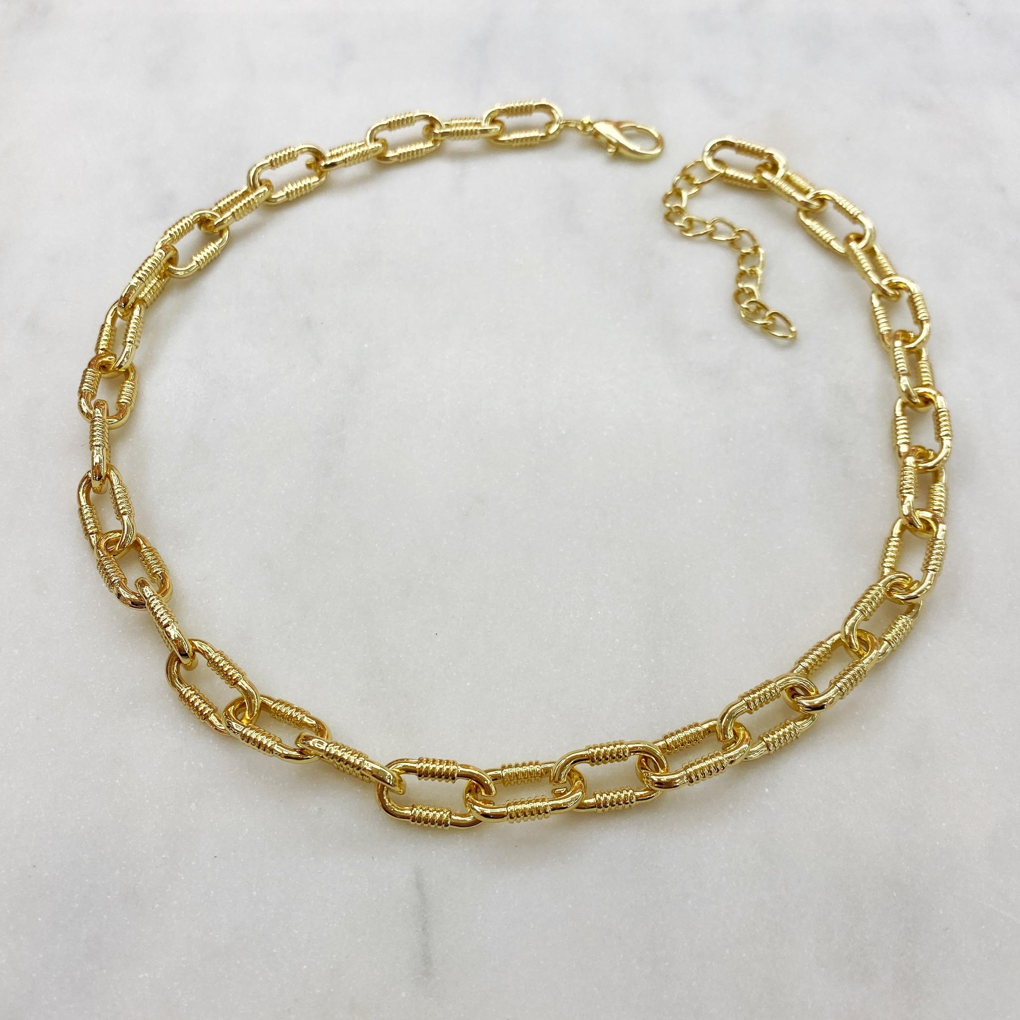 Колье-цепь с фактурными овальными звеньями 45 см (золотистый)