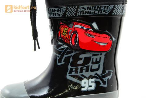 Резиновые сапоги Тачки (Cars) на шнурках для мальчиков, цвет черный. Изображение 10 из 10.