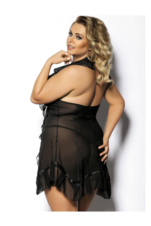 Эротическая сорочка прозрачная черная со стрингами