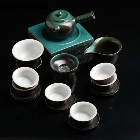 Набор для чайной церемонии, 12 предметов: чайник 200 мл,6 пиал 40 мл, чахай 150 мл, тарелка,сито,гайвань