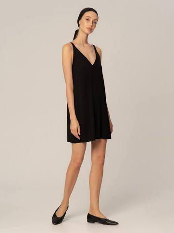 Женское платье черного цвета из шелка и вискозы - фото 4