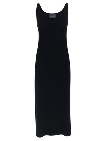 Женское платье черного цвета из шелка и вискозы - фото 1