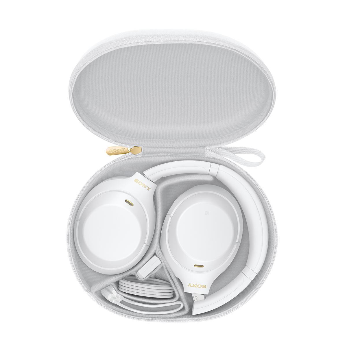 Наушники Sony WH-1000XM4W белые в чехле для безопасного хранения и транспортировки